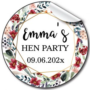 Multi Floral Hen Party personalised stickers