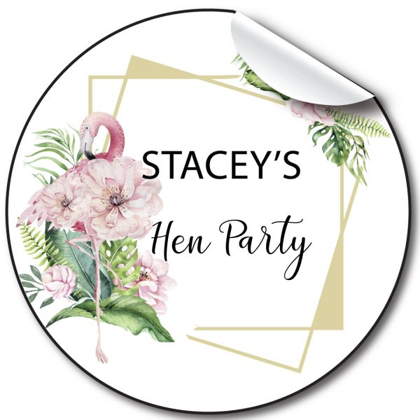 Hen Party Flamingo Floral stickers