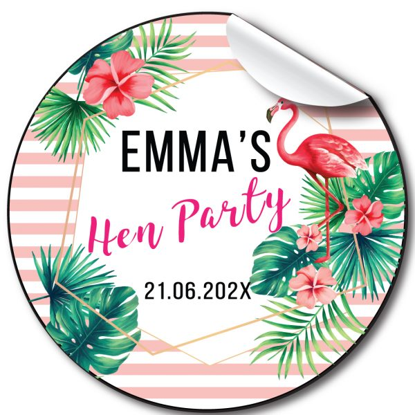 Tropical Flamingo Hen Party personalised stickers