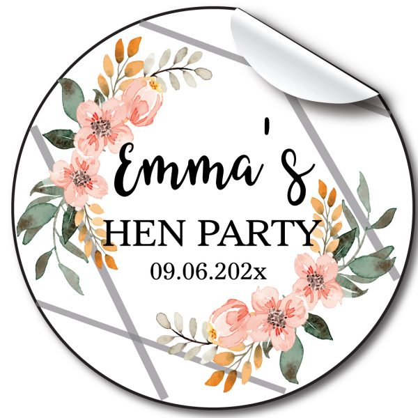 Floral Lines Hen Party personalised stickers