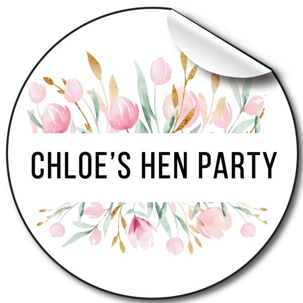 Watercolour Floral Hen Party personalised stickers