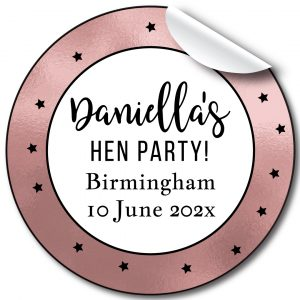 Stars Hen Party personalised stickers