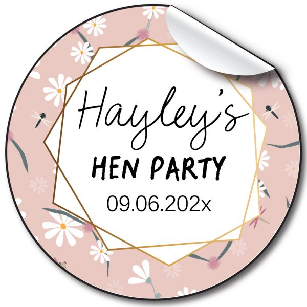 Hen Party floral edge pink personalised stickers