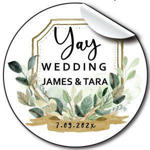 Green Badge Wedding day stickers, personalised labels