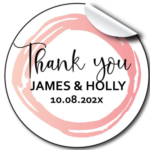 Pink Circle Wedding day personalised stickers, labels