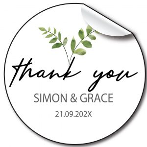 Eucalyptus Wedding day personalised stickers, labels