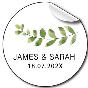 Eucalyptus Branch Wedding day personalised stickers, labels