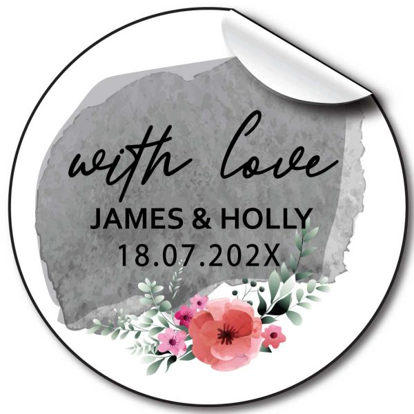 Floral grey Wedding day personalised stickers, labels