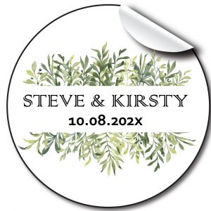 Green Floral Wedding day stickers, personalised labels