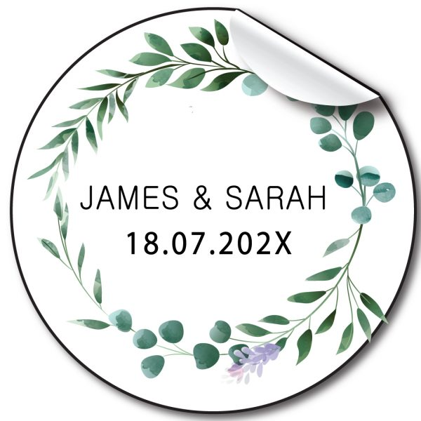 Floral Wreath Wedding day personalised stickers, label