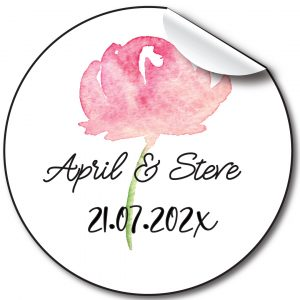 Watercolour floral Wedding day personalised stickers,