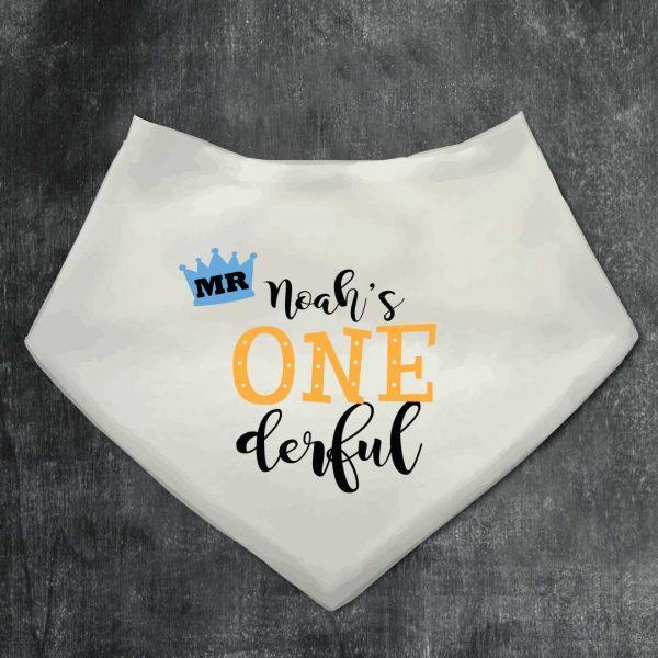 Personalised Baby Bib Mr Onderful Bandana bib