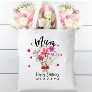 Tote Bag floral bouquet Natural cotton shopping bag