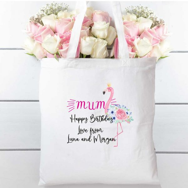 Tote bag flamingo and florals, cotton shopping bag