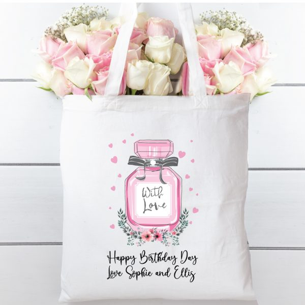 Tote Bag perfume bottle, Natural cotton shopping bag