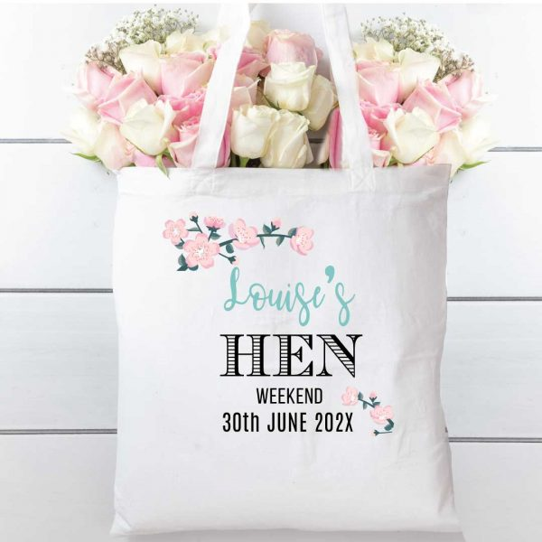 Hen party Blossom tote, cotton shopping bag