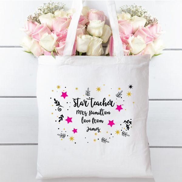 Tote bag Star teacher. 100% cotton bag