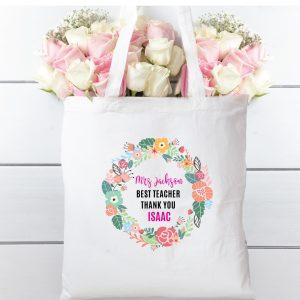 Tote bag floral wreath teacher. 100% cotton bag