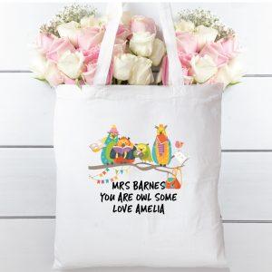 Tote bag Owl some teacher, 100% cotton shopping bag