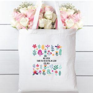 Tote bag teacher flower and birds, 100% cotton bag