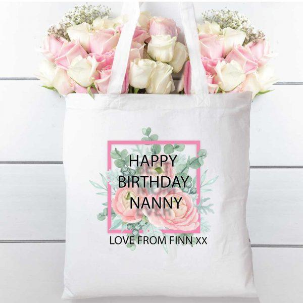 Tote Bag floral square Natural cotton shopping bag