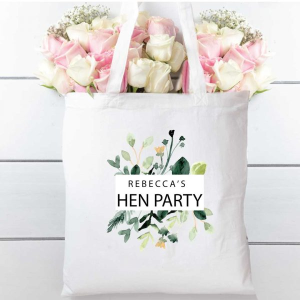 Tote-bag-Green-Floral-cotton-shopper-personalised