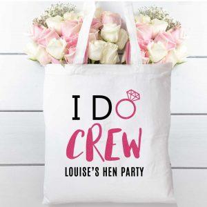Hen party I do crew tote bag , cotton shopping bag