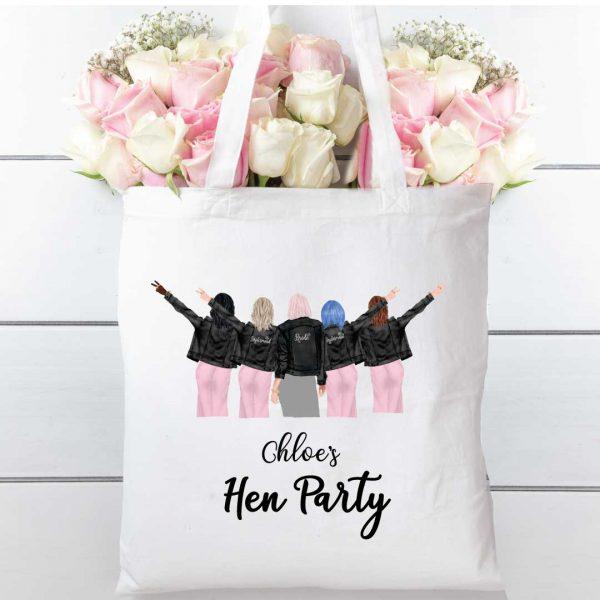 Hen party Bridesmaids 100% cotton tote shopping bag