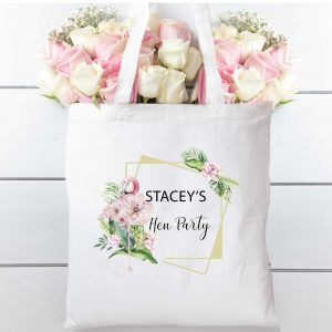Hen party Flamingo floral tote bag, cotton shopping bag