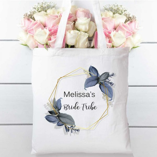 Hen party Floral blue cotton tote shopping bag