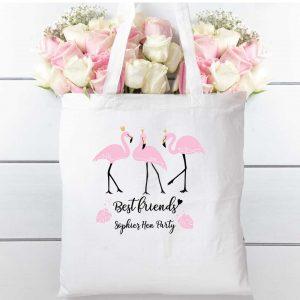 Hen party Flamingo Friends tote bag, cotton shopper