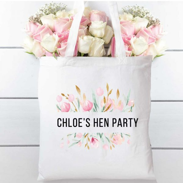 Hen party Water colour floral cotton tote shopping bag