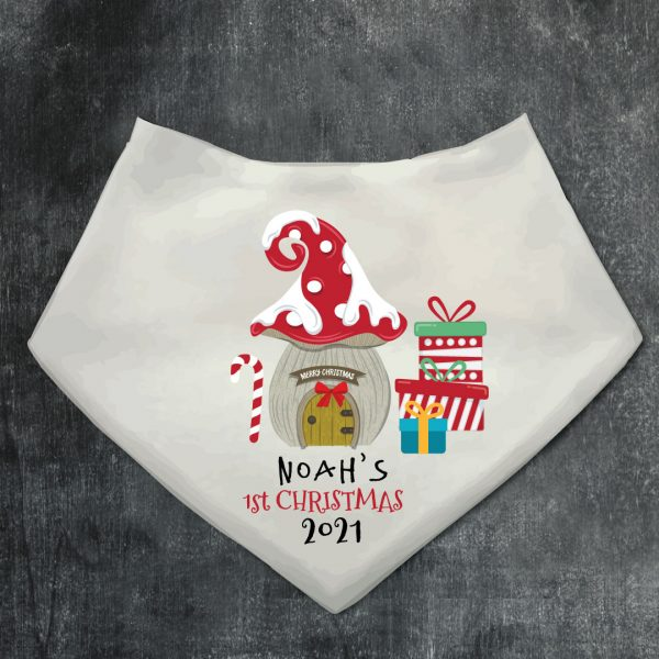 Personalised Christmas-Bandana Bib-gnomes-front-door