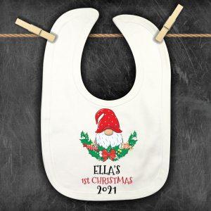 Personalised Christmas-Bib-gnomes and holly