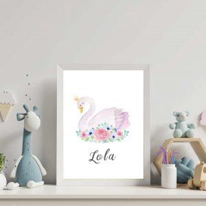 Personalised Nursery Print-Personalised pink swan