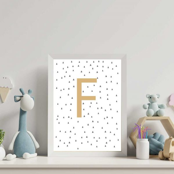 nursery-prints-personalised-letter-with-hand-drawn-triangles-background-pattern