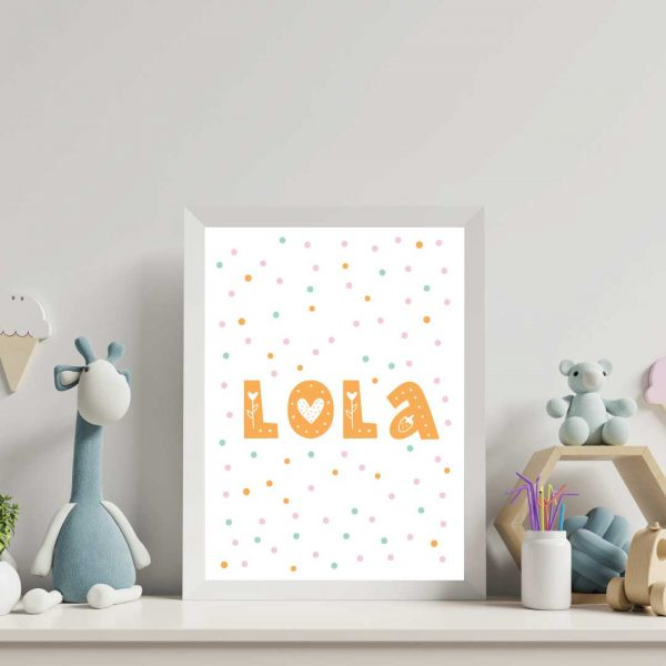 nursery-prints-personalised-name-with-hand-drawn-dots-background-pattern.