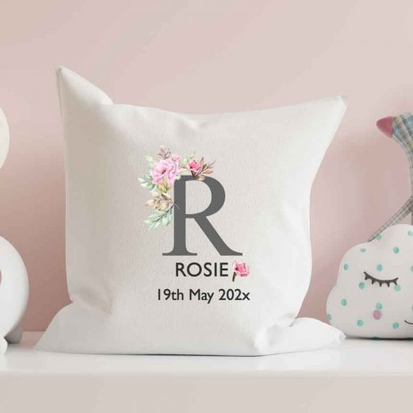 Baby-Cushion-personalised-letter-floral-name-customised-pillow