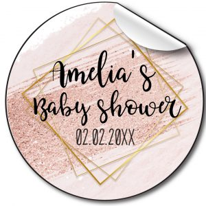 PINK FRAME BABY SHOWER PARTY STICKERS