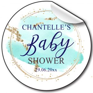 BABY SHOWER PERSONALISED STICKERS, BLUE/GOLD SPLASH