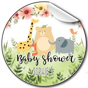 Baby-shower-personalised-stickers-animals-and-florals.