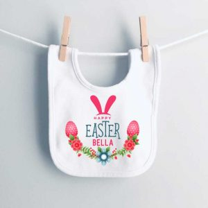 Happy-Easter-Florals-and-eggs-Pink-bib-personalised