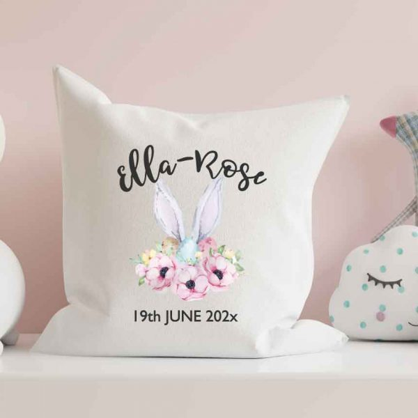Personalised-Cushion-rabbit-watercolour new baby