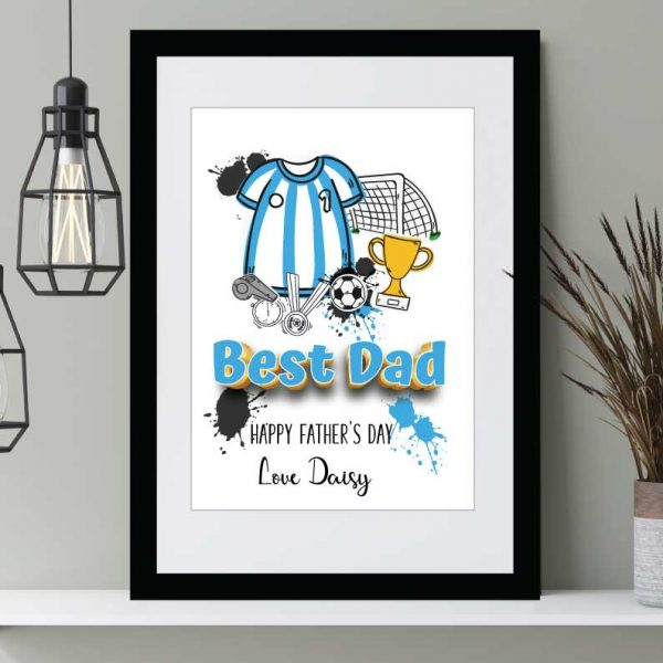 Father's Day prints Wall art Blue soccer top