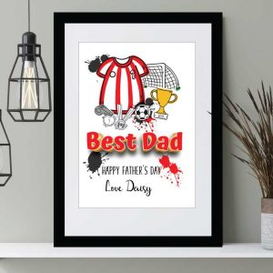 Football top print personalised Father's Day prints Wall art