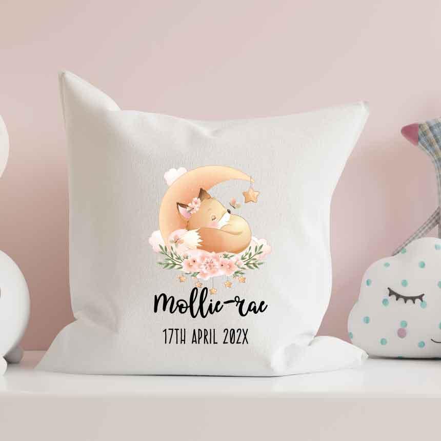 Baby Cushion Personalised Sleeping Fox Pillow