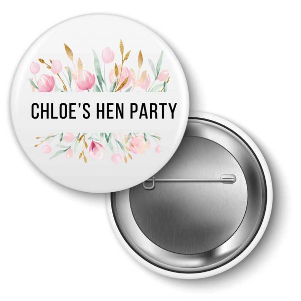 Hen-party-badges-watercolour-floral personalised