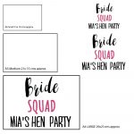 Hen Party T-shirt stickers Personalised Bride Squad