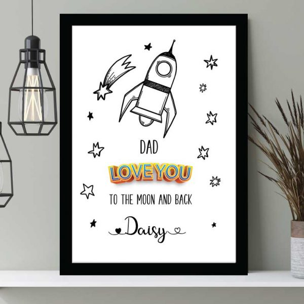 Moon and Back Father's Day print personalised Wall art