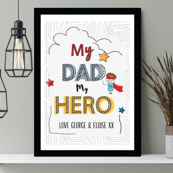 My Dad My Hero Father's Day personalised print